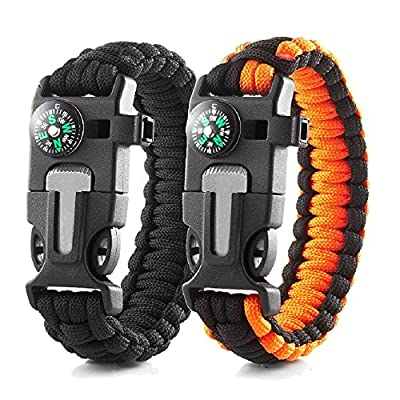 "Outdoor Paracords Survival Bracelet With Whistle,Compass,Emergency Knife,Temp, & Fire Starter Functional Tool For Hiking Camping Hunting Fishing (Black / Orange 9"")"