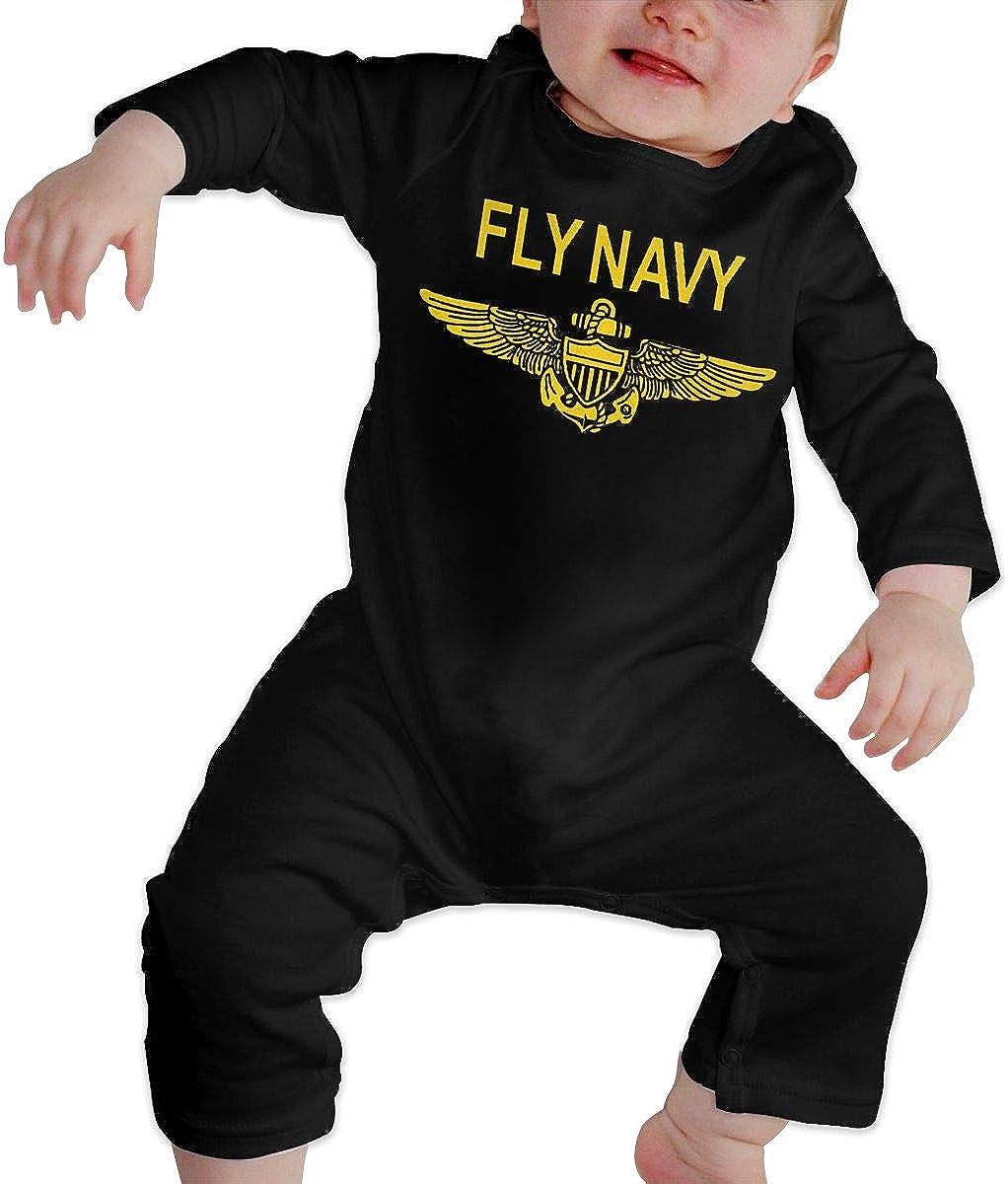 Unisex Baby Fly Navy Pilot Wings Logo Jumpsuit Cotton Romper Long-Sleeve Bodysuit One-Piece Suit