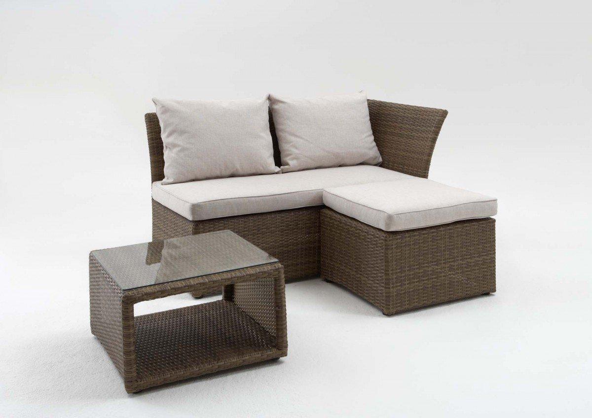 dreams4home loungeset rattan aus liege hocker tisch glas balkonset loungem bel mit polster. Black Bedroom Furniture Sets. Home Design Ideas