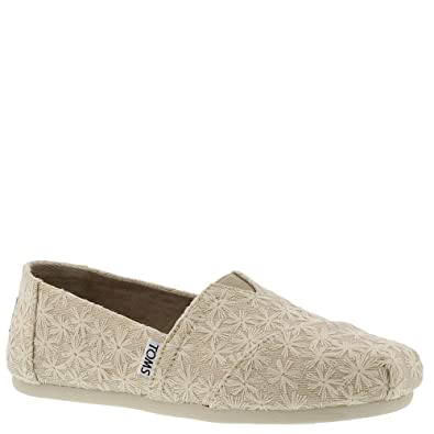 TOMS Womens Classics Natural Daisy Metallic Slip On Shoes (6 B US)