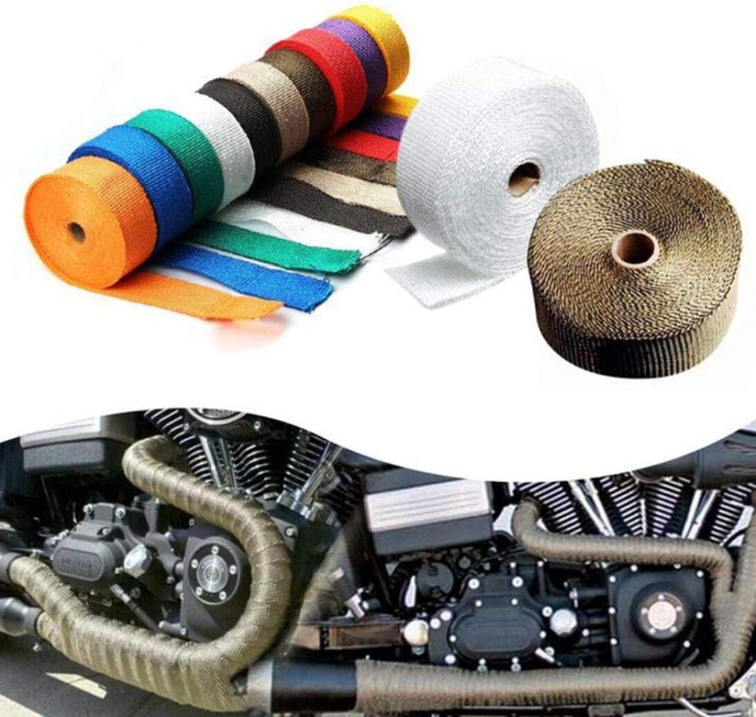 Grebest Exhaust Pipe Insulation Tape Motorcycle Riding Gear Binding Rope 5m Motorcycle Anti-Scalding Exhaust Pipe Tube Thermal Heat Insulation Tape Roll Black