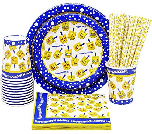 Hanukkah Party Paper Goods Set -  Dreidel Design - Hanukkah Plates - Chanukah Cups - Hanukkah Napkins - Hanukkah Straws -