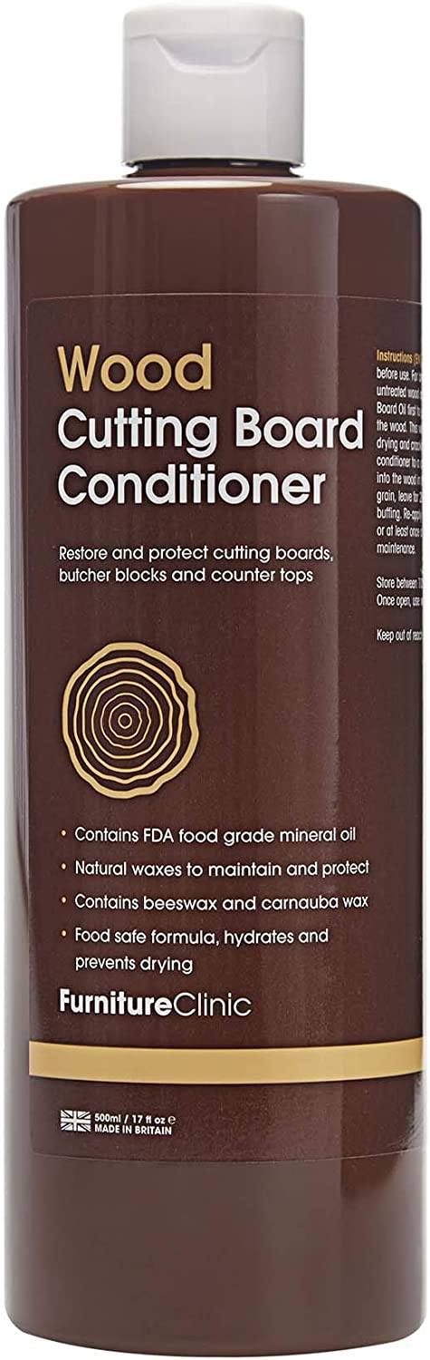 Furniture Clinic Cutting Board Conditioner | Food Grade Mineral Oil to Restore & Maintain Chopping Boards | Mineral Oil for Cutting Boards, 17oz/500ml