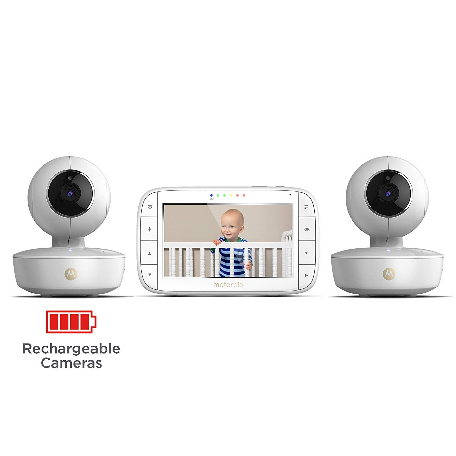 Motorola MBP36XL-2 Portable Video Baby Monitor, 5-inch Color Screen, 2 Rechargeable Cameras with Remote Pan, Tilt, and Zoom, Two-Way Audio, and Room Temperature Display by Motorola Baby (Image #4)