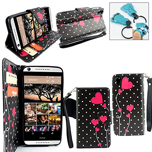 Customerfirst - HTC Desire 626 (D626x) Case, Dual-use Flip Pu Leather Fold Wallet Pouch Case Premium Pu Leather Wallet Flip Case for HTC 626 - Includes Key Chain (Dotted Heart) -