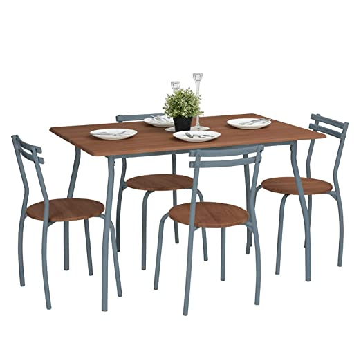 FURNITURE-R France - Conjunto de Comedor (Mesa Recta, 4 sillas ...