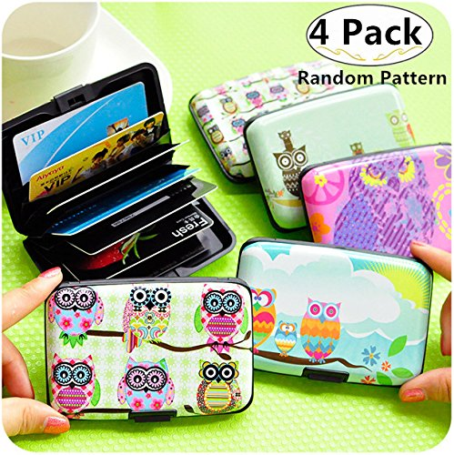 4 Pack Adorable Owl Credit Card Holder Case, Carnatory Blocking Business Card Holder