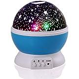 QederTEK Lampada Proiettore Rotante Blu Lampada che può essere Collocata nella Camera dei Bambini poiché Proietta sul Soffitto e sulle Pareti uno Scenario fatto di Stelle e la Luna