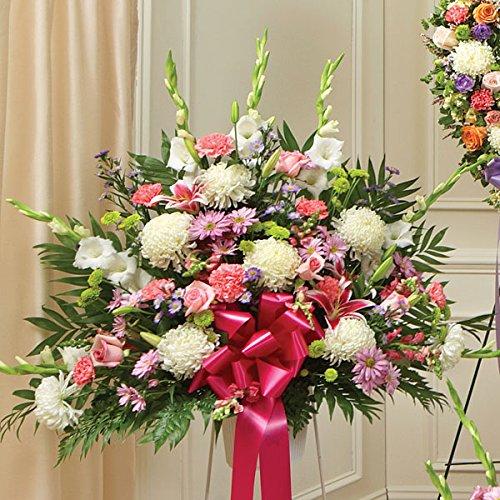 PlantShed - Heartfelt Sympathies Standing Basket Pastel - Flower Hand Delivery in NYC Local Manhattan Florist Funeral Wreath