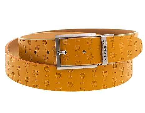 KAZARTT - OPTIMISMO - Cinturón de piel con estampados copas de vino - Hecho a mano en España (Amarillo): Amazon.es: Ropa y accesorios