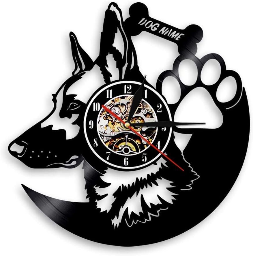 Luz de noche europea 1 pastor alemán amigo fiel mascota animal nombre del perro disco de vinilo reloj de pared reloj creativo arte mejor regalo sala de estar lámpara de mesa antigua