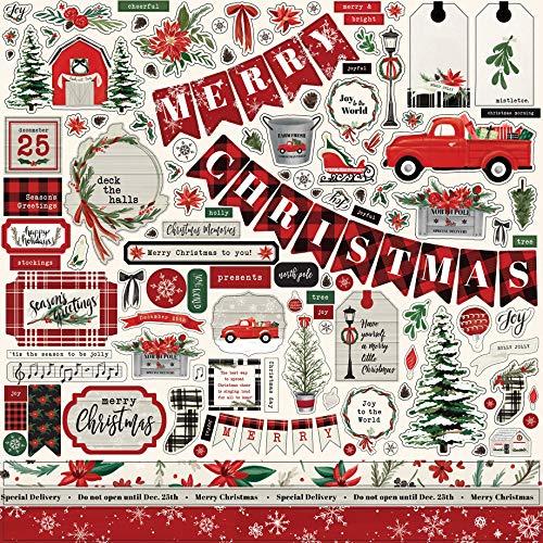 Carta Bella Paper Company CBCM106014 Christmas Market Element Sticker, red, Green, Black, Woodgrain, Cream