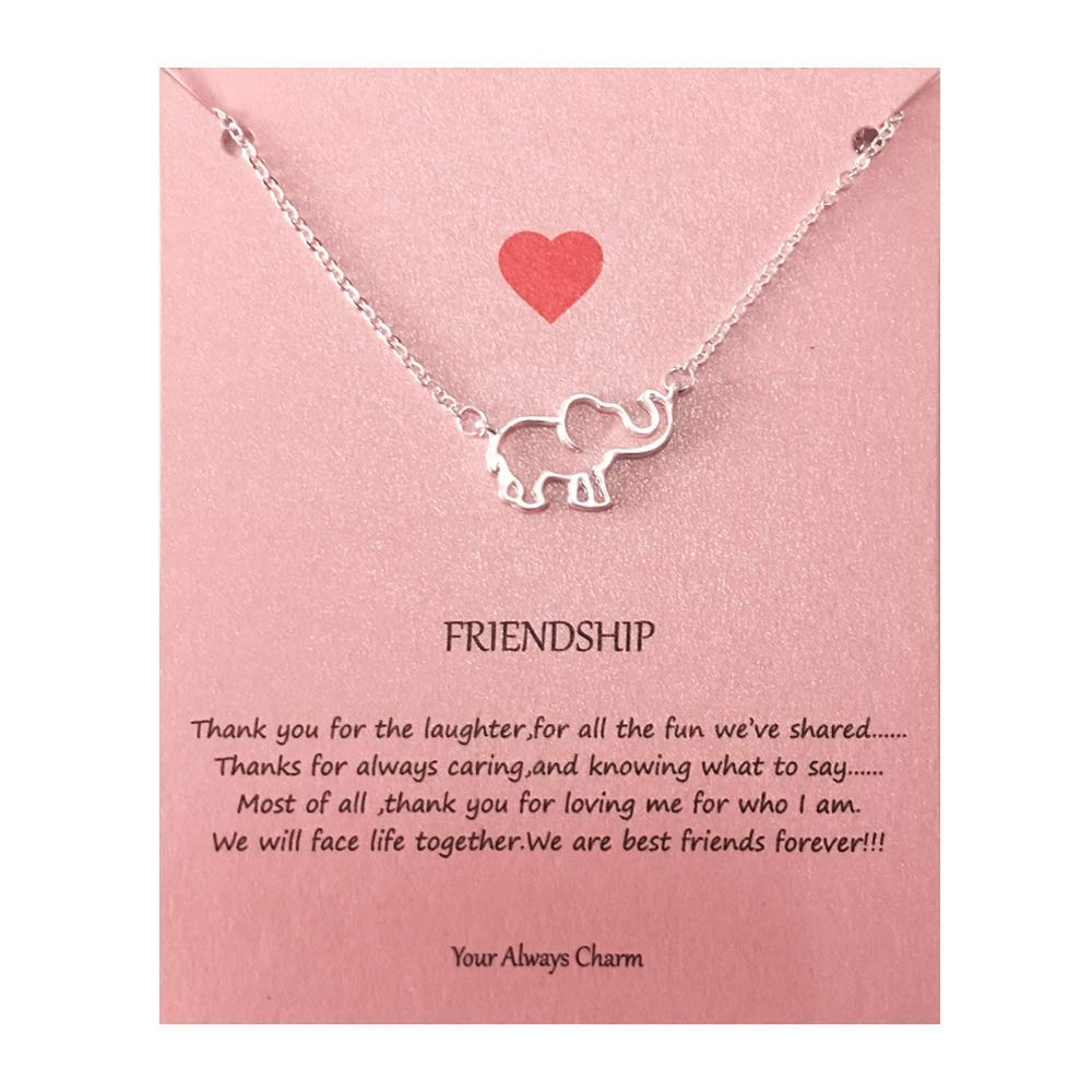 Your Always Charm Geometric Origami Elephant Necklace,Lucky Elephant Friendship Gifts with Message Card