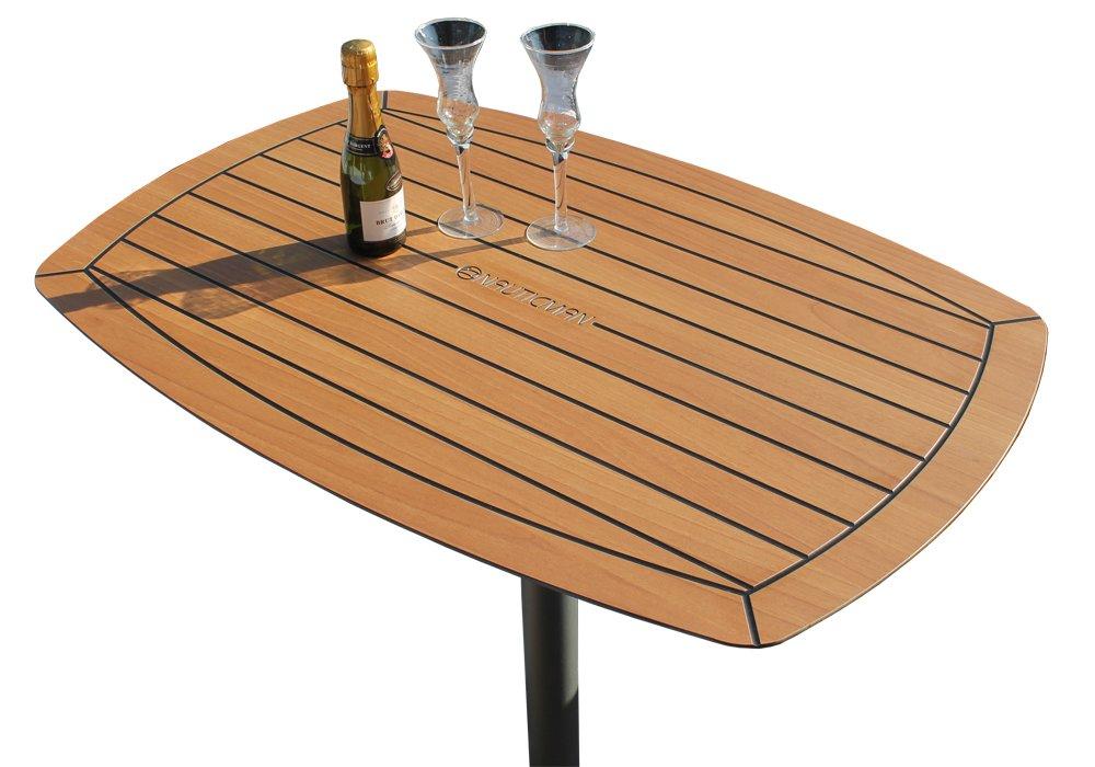 NAUTICMAN® Bootstisch abgerundet 60cm x 90cm Classic Teak