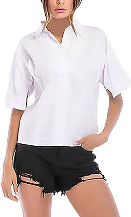 HaiDean Camisas Mujer Elegantes Anchas De Manga Corta Solapa ...