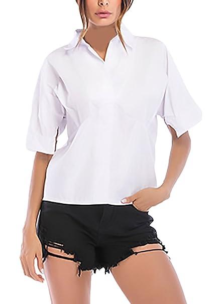 Camisas Mujer Elegantes Anchas Manga Corta De Solapa Un Ropa Dama Moderno Solo Pecho Blusas Verano Moda Casual Oficina Negocios Camisa Blusones Tops Blanco: ...