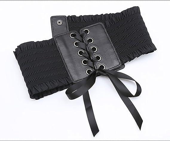 YOUMU Women Punk Wide Ruffle Elastic Stretch Waist Belt Waistband Leather Dress Belt Goth
