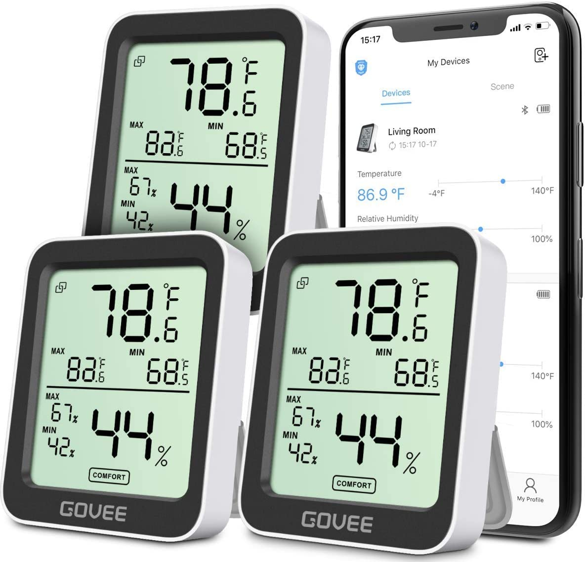Bundle-3 Items: Govee Thermometer Hygrometer 3 Pack, Accurate Indoor Temperature Humidity Sensor with Notification Alert, LCD Bluetooth Temp Humidity Monitor with Data Storage
