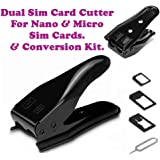Rebel Micro Sim Cutter and Adapter for iPhone 4/5/5S/6/ Samsung Galaxy S5/S4 Note 2/3 (Black) - Pack of 2