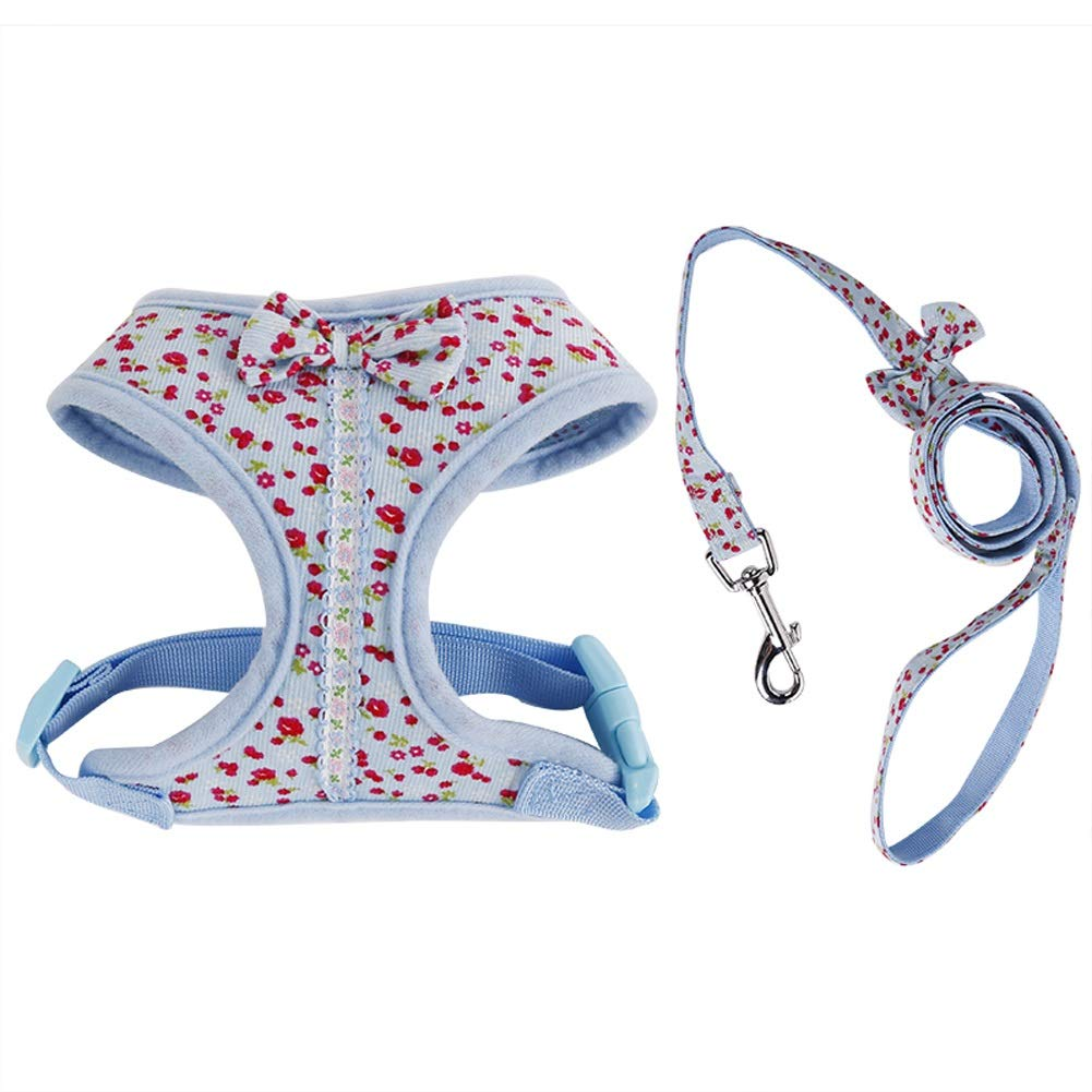 bluee S bluee S Albabara Adjustable No Pull Bowtie Dog Harness & Leash Set Floral Print Dog Vest Harness Leash Set Leads for Cats & Small Dogs