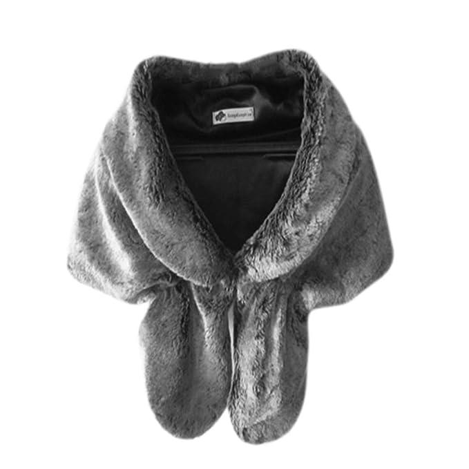 PanDaDa De las Mujeres Abrigos de piel Poncho Faux Fox Fur Chal para la Boda: Amazon.es: Ropa y accesorios