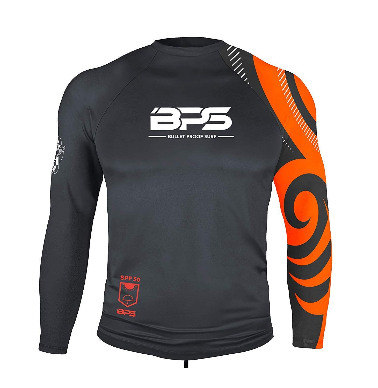 BPS Mens Longsleeve Quick Dry Rashguard UPF 50+ - Charcoal Orange, L by BPS