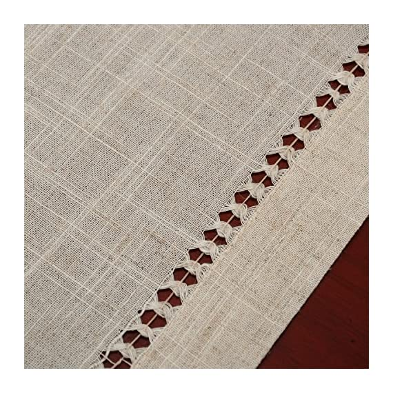 Grelucgo Handmade Hemstitched Table Placemats, Rectangle 12x18 Inch Set of 6, Natural Color - Hand hemstitched natural color 50% linen, 50% polyester Machine washable - placemats, kitchen-dining-room-table-linens, kitchen-dining-room - 61r06oHJG6L. SS570  -