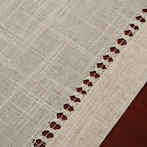 Handmade Hemstitched Natural Rectangle Lace Table Runners (14x48 inch) by GRELUCGO (Image #3)