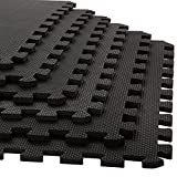 Stalwart Foam Mat Floor Tiles, Interlocking EVA Foam Padding by Soft Flooring for Exercising, Yoga, Camping, Kids, Babies, Playroom – 6 Pack, 24 x 24 x 0.375 inches, Black