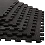Stalwart Foam Mat Floor Tiles, Interlocking EVA Foam Padding Soft Flooring for Exercising, Yoga, Camping, Kids, Babies, Playroom – 6 Pack, 24 x 24 x 0.375 inches, Black