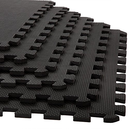 Stalwart Foam Mat Floor Tiles, Interlocking EVA Foam Padding Soft Flooring for Exercising, Yoga, Camping, Kids, Babies, Playroom – 6 Pack, 24 x 24 x 0.375 inches, (Interlocking Rubber Floor)
