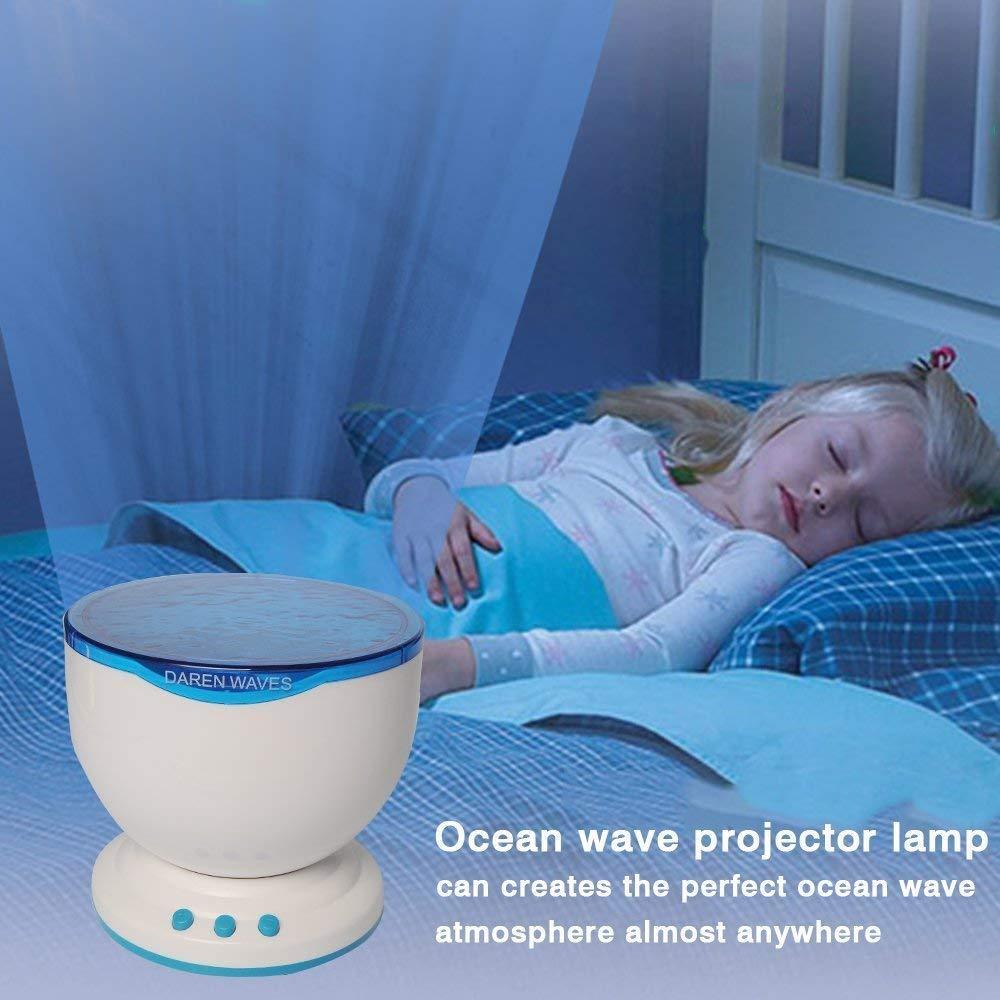 Flylinktech/® Proyector L/ámpara oceano con Altavoces de MP3 Proyecci/ón del mar sonido de olas relajante Ocean Rela