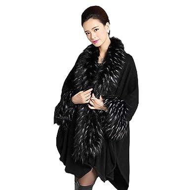 Mujer Capa Invierno Abrigos Negro Elegantes Moda Fiesta Estilo Vintage Chaqueta Color Sólido Irregular Asimetricos Sintético Piel Chal Outerwear Niña: ...