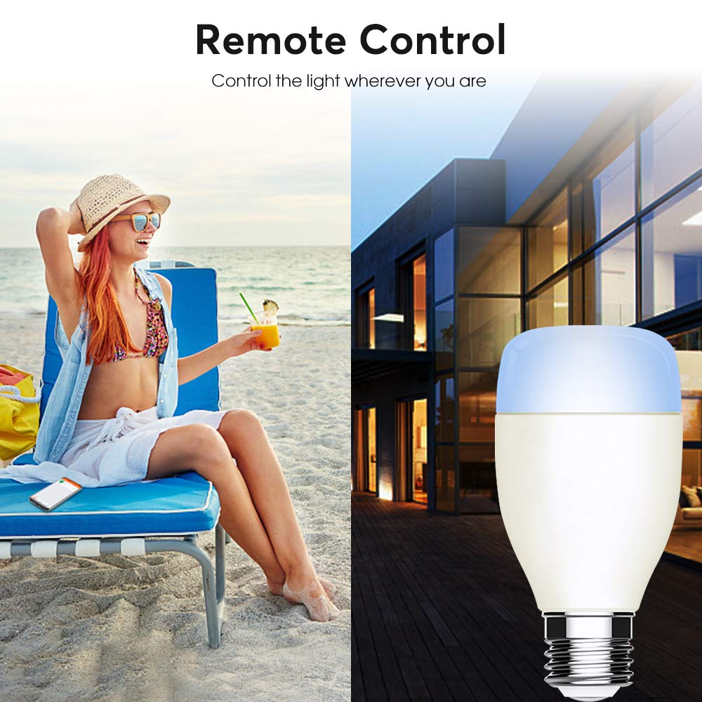 No Hub Required MEMBOO E27 Led Alexa Light Bulbs 6000K Dimmable Colored WiFi Bulb Smartphone Controlled Smart Light Bulb Compatible with  Alexa Echo Google Home Assistant