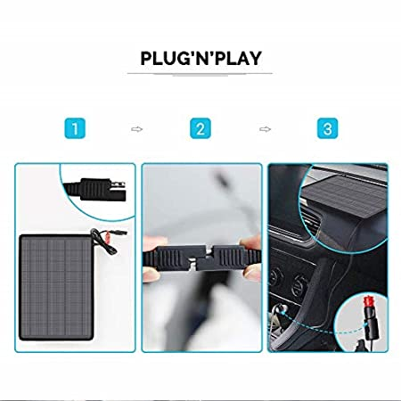 Renogy 10W 12V Portable Solar Panel Battery Maintainer Trickle Charger with Lighter Plug, Alligator Clips, and Battery Cables