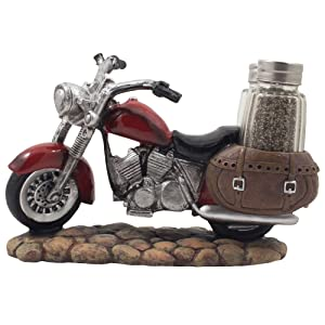 Decorative Red Motorcycle with Glass Salt and Pepper Shaker Set in Saddle Bags for Classic Bike Models & Vintage Chopper Figurines As Biker Bar or Kitchen Table Décor Gifts for Harley Riders