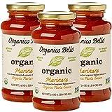 Organico Bello - Organic Gourmet Pasta Sauce - Marinara - 24oz (Pack of 3) - Non GMO, Whole 30 Approved, Gluten Free
