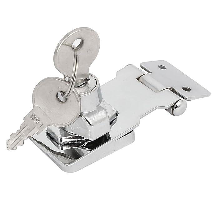 eDealMax 80mmx32mmx30mm metal tornillo de fijación Guardia de seguridad con llave del cerrojo de cierre de la cerradura del tono de plata - - Amazon.com