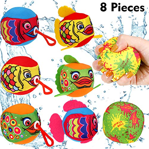 8 Pieces Water Splash Balls Set Colorful Water Soaker Balls with Retractable Hook for Kids Pool Party, Summer Beach Games, Fun - Giant Fun Ball
