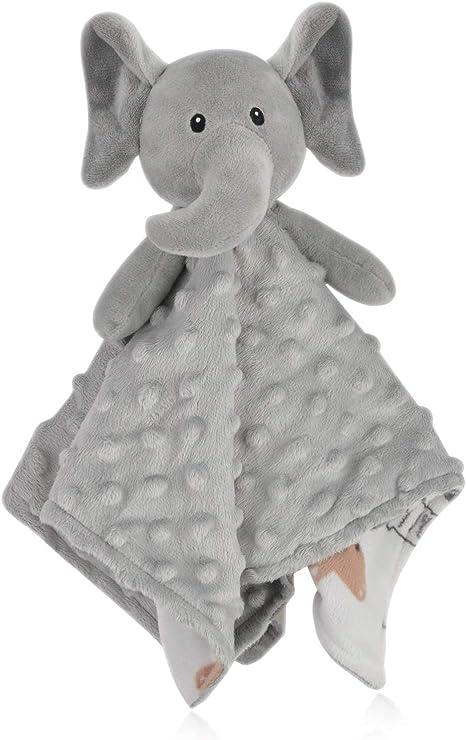 Boritar Elephant Baby Security Blanket Soft Minky Dot Fabric Lovey Blanket With Lovely Animal Pattern Backing Stuffed Plush Cuddle Newborn Blankie 14 Inch Amazon Ca Baby