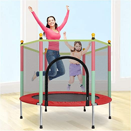 Trampoline with Safety Enclosure Net, 5-Foot Round Bounce Jumper for Indoor Outdoor, Built-in Zipper Heavy Duty Frame, Kids Basketball Hoop Trampoline for Great Gift As Shown