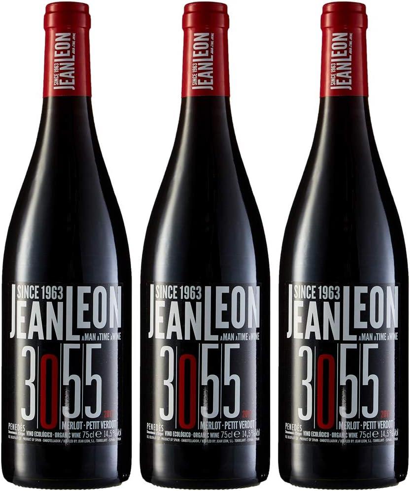 Jean Leon 3055 Merlot, Vino Tinto Ecológico - 3 botellas de 750 ml, Total: 2250 ml