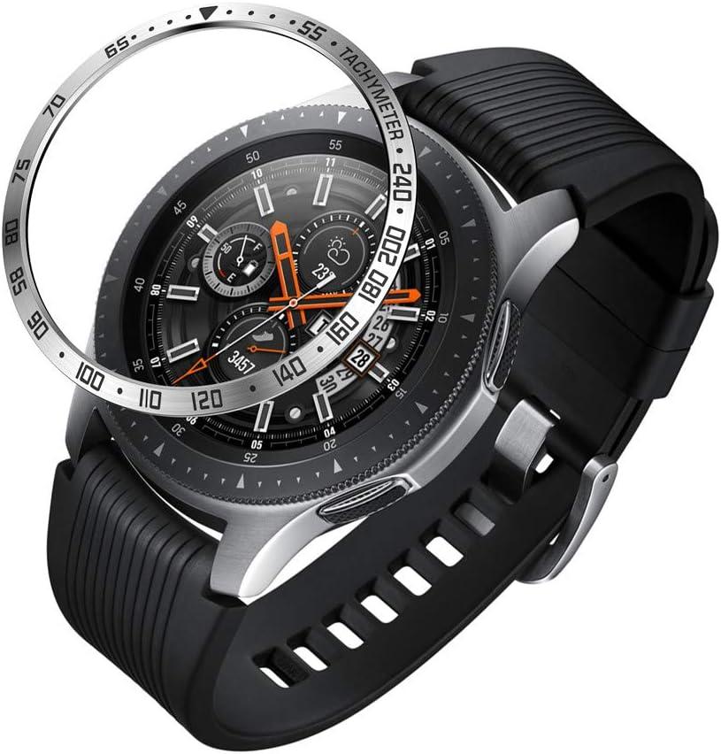 Webla - Negro Para Samsung Galaxy Watch 46Mm Bezel Ring Adhesive Cover Anti Scratch Metal, Protector de La Cubierta Del Reloj Acero Inoxidable Negro