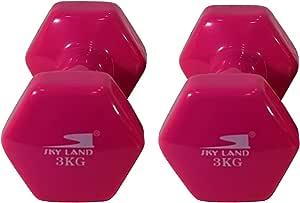 مجموعة دمبل مصنوعة من الفينيل ديلوكس للجنسين من سكاي لاند EM-9219R-3 ، وزن 3 كغم x 2 - زهري