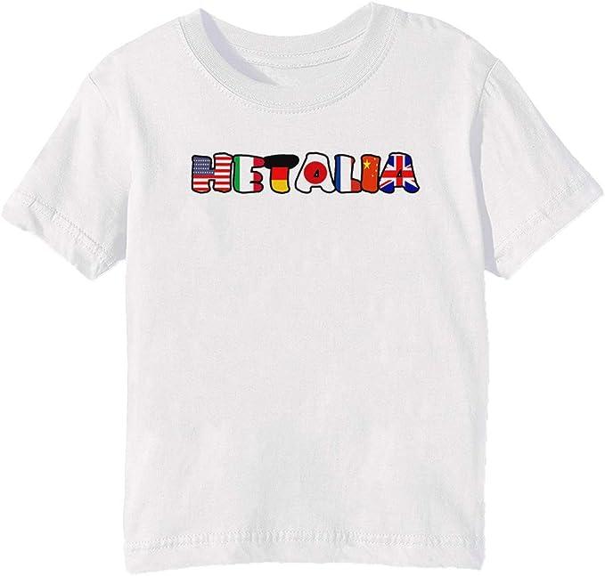 Mundo Hetalia Banderas Niños Unisexo Niño Niña Camiseta Cuello ...