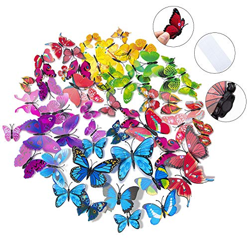 72 x PCS 3D Colorful Butterfly Wall Stickers DIY Art Decor Crafts for Nursery Classroom Offices Kids Girl Boy Baby Bedroom Bathroom Living Room Magnets and Glue Sticker Set Cut Out Wall Decoration