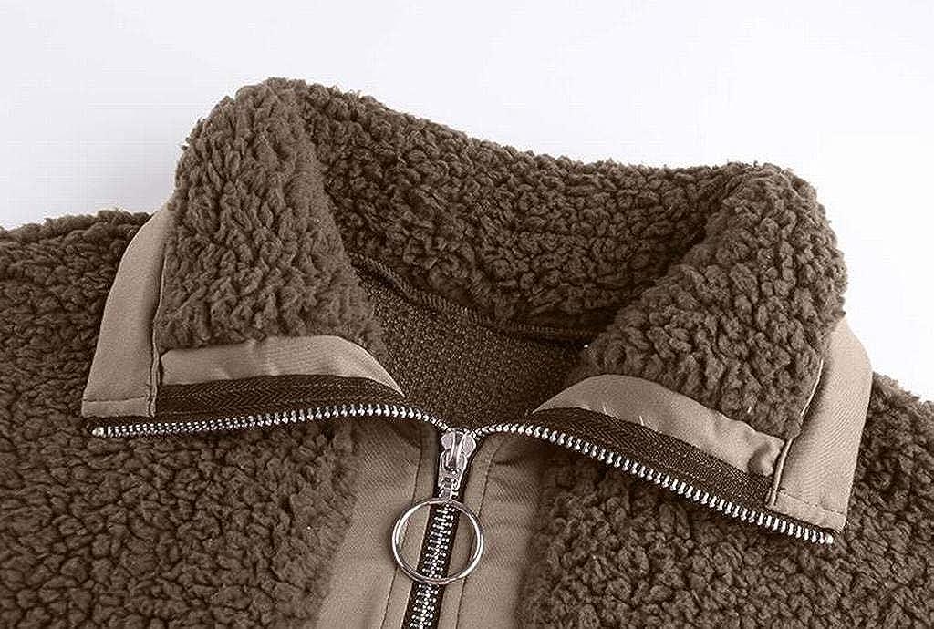 FSSE Womens Fluffy Loose Fit Lapel Faux Fur Half Zip Pullover Sweatshirts