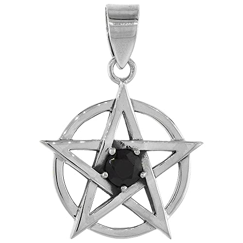 Sterling Silver Pentagram Necklace Black CZ, 3 4 inch tall