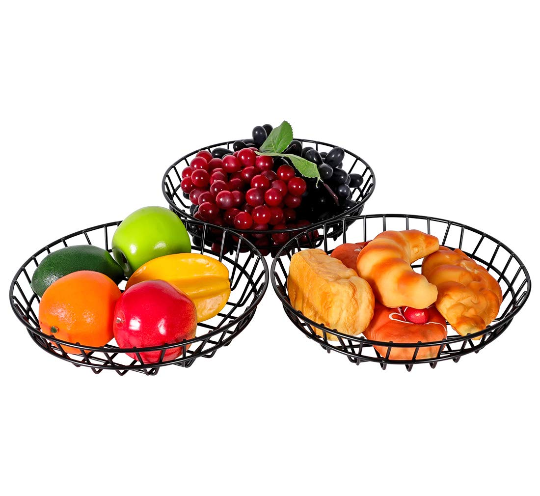 TQVAI 10 inch 3 Pack Wire Fruit Bowl - Ideal for Storage Snacks, K-cups, Bread, Napkin, Black