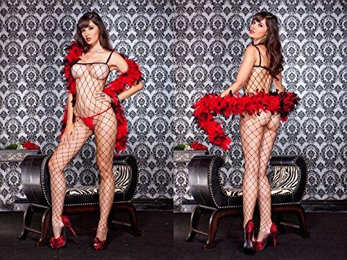 (Music Legs Spandex diamond net spaghetti straps body stocking 88% nylon 12% spandex Black ONESIZE)